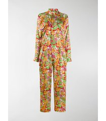 plan c floral long-sleeve jumpsuit
