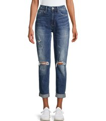 flying monkey women's high-rise distressed mom jeans - dark blue - size 24 (0)