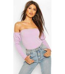 crepe off the shoulder top, lilac