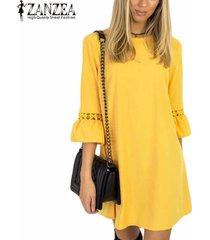 zanzea mujeres medio de la manga de la mariposa de cuello redondo suéter sobre la rodilla vestido de verano de mujeres ahueca hacia fuera ocasional sólida breve retro mini vestido -amarillo