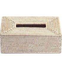 rectangular rattan tissue box - white matt