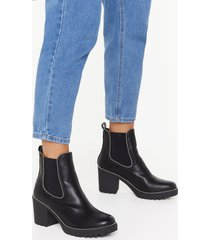 womens block the haters faux leather studded boots - black