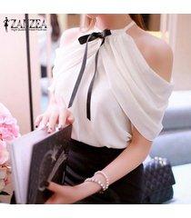 zanzea summer style women halter neck bowknots elegant off shoulder blusas camisas casual slim chiffon tops (blanco) -blanco