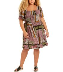band of gypsies trendy plus size patchwork-print fit & flare mini dress