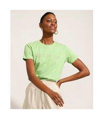 """t-shirt de algodão com bordado c'est la vie"""" manga curta decote redondo mindset verde"""""""