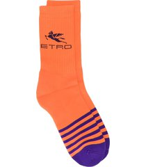 etro striped logo socks - orange