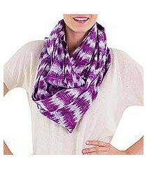 cotton infinity scarf, 'amethyst twilight' (guatemala)