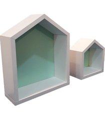 conjunto de nicho casinha decorativo organibox verde - verde - dafiti