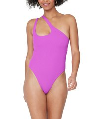 l space phoebe classic one-shoulder rib one-piece swimsuit, size 10 in pitaya at nordstrom