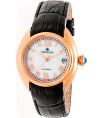 empress antoinette automatic rose gold case, white dial, black leather watch 38mm