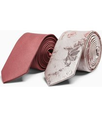 mens blush twill and pink jacquard tie multipack
