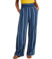 be bop juniors' striped smocked wide-leg pants