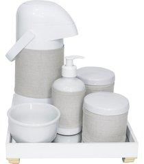 kit higiene espelho completo porcelanas, garrafa e capa dourado quarto bebê unissex