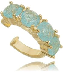 brinco soloyou fake piercing água marinha fusion em ouro 18k azul