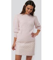 na-kd quilted pu skirt - pink