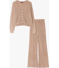 womens you and me pearl knit cardigan and pants set - khaki