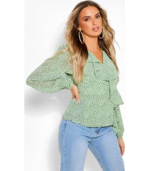 woven printed ruffle wrap blouse, green
