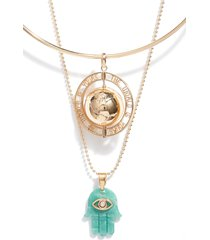 open edit bold charm & pendant layered necklaces
