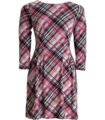 connected plaid fit & flare dress