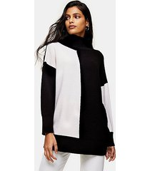 black and white color block longline knitted sweater - monochrome