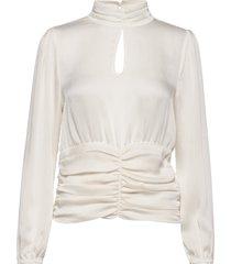 u1063, woven top l/s blouse lange mouwen wit saint tropez