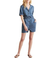 women's faherty brand arlie romper, size small - blue