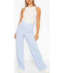 basic crépe broek met wijde pijpen en hoge taille, babyblauw