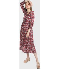 vestido vinotinto-multicolor paris district
