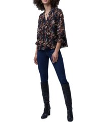 french connection desta lame floral-print top