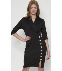 vestido office design con botones negro 609seisceronueve