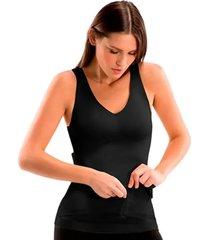 cinta camiseta modeladora redutora slim comfy preta - preto - feminino - dafiti