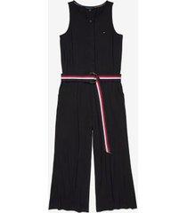 tommy hilfiger women's adaptive tank jumpsuit th deep knit black - xxl
