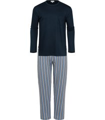 mey pyjama blauw met gestreepte broek