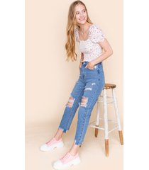 women's harper heritage distressed high waisted jeans in denim by francesca's - size: l