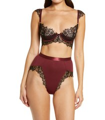 oh la la cheri eyelash lace underwire bra & high waist panties set, size x-large in zinfandel/black at nordstrom