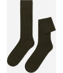 calzedonia short ribbed socks with wool and cashmere man green size 42-43