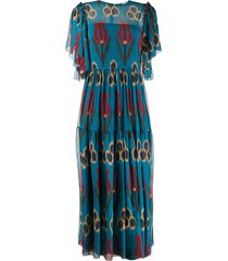 redvalentino long tulip dress - blue