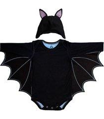 body manga curta isabb fantasia de morcego preto