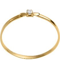 anel solitário semijoia banho de ouro 18k cravação de zircônia redonda