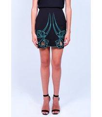 falda bordada de mujer aishop aw172-h20056c negro