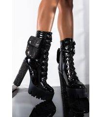 akira azalea wang i pull up chunky heel bootie in black