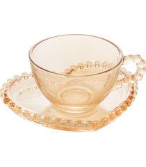 conjunto de 4 xícaras chá cristal com pires coração pearl âmbar 180ml