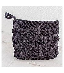 crocheted cosmetic bag, 'summer frill in black' (guatemala)