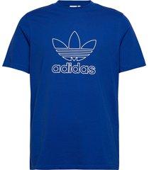 trefoil tee out t-shirts short-sleeved blå adidas originals