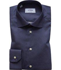 men's big & tall eton contemporary fit signature polka dot dress shirt, size 18 - blue