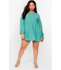womens tier's the deal plus mini dress - sage