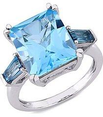 14k white gold & london blue & sky blue topaz cocktail ring