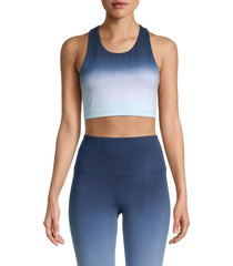 marc new york performance women's ombré cropped tank top - blue combo - size xl