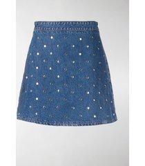 ganni studded denim skirt