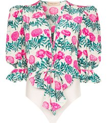 adriana degreas floral-print silk bodysuit - white
